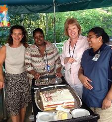 Lakisha with other staff members at Middlewoods