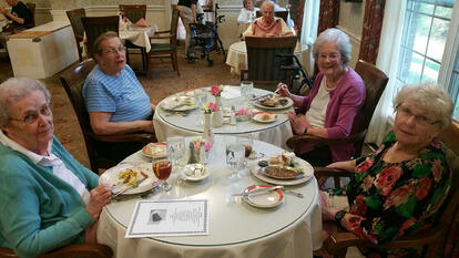 Making new friends in a senior living community