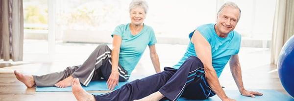 Seniors enjoying a yoga session